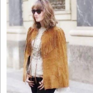 Zara Woman NWT tan leather suede cape jacket